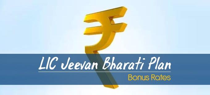 LIC Jeevan Bharati Plan-160 Bonus Rates. Calculate returns & Maturity Value