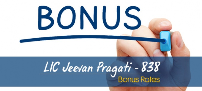 LIC Jeevan Pragati Plan-838 Bonus Rates. Calculate returns & Maturity Value
