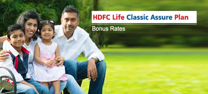HDFC Classic Assure Plan Bonus Rates. Calculate returns & Maturity Value