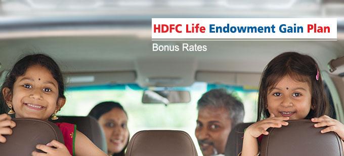 HDFC Life Endowment Gain Plan Bonus Rates. Calculate returns & Maturity Value