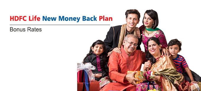 HDFC Life New Money Back Plan Bonus Rates. Calculate returns & Maturity Value