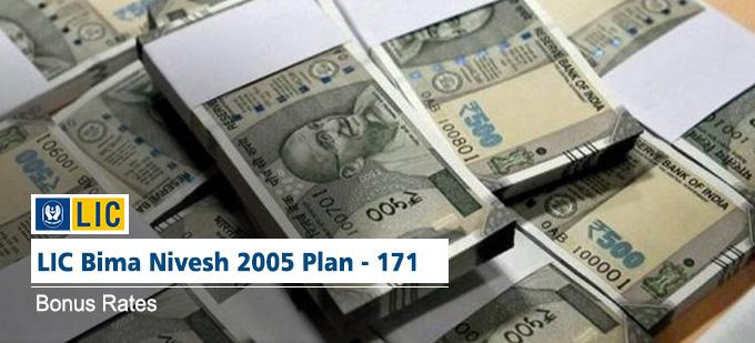 LIC Bima Nivesh 2005 Policy  - Plan No.171. Bonus Rates. Know the Maturity Value