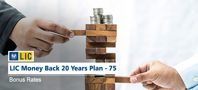 LIC Money Back 20 Years Bonus Rates - Plan No. 75. Know the Maturity Value