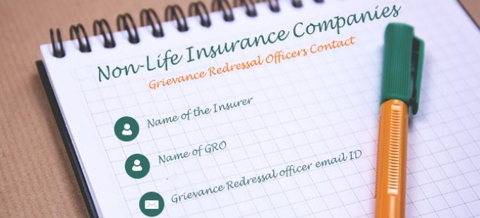 Grievance Redressal Officers - Non-Life Insurance Companies